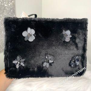 Kate Spade Neve Shearling Embellished LG Pouch Bag